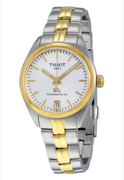 ساعة تيسو PR 100 أوتو كلاسيك بسوار فولاذي - T101.207.22.031.00