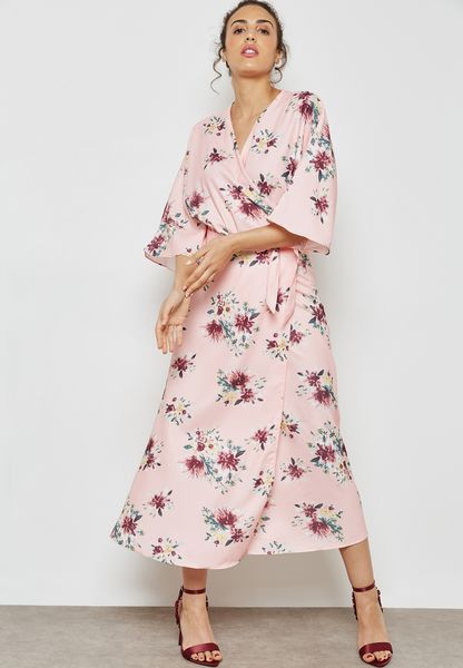 Floral Print Wrap Front Tie Midaxi Dress