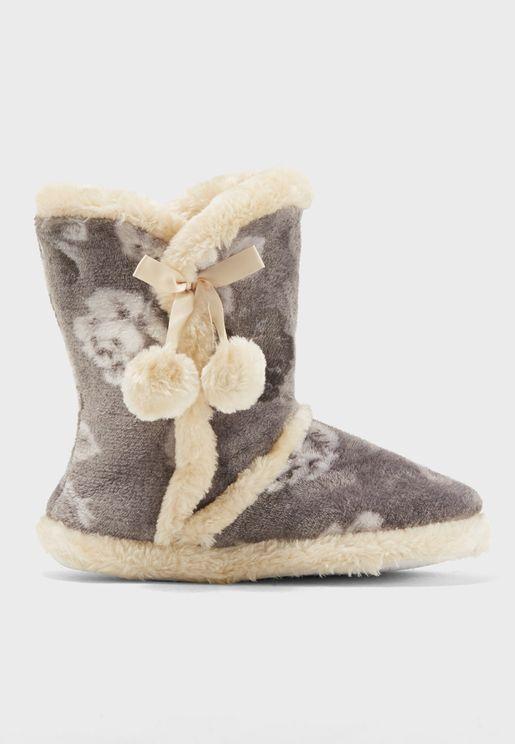 Flannel Fleece Slipper Boot