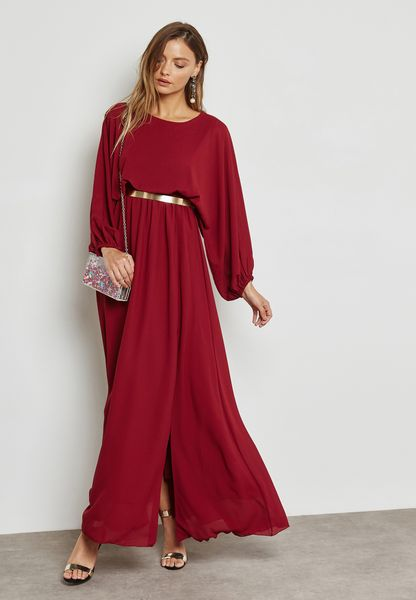 Belted Puffed Sleeve Dress