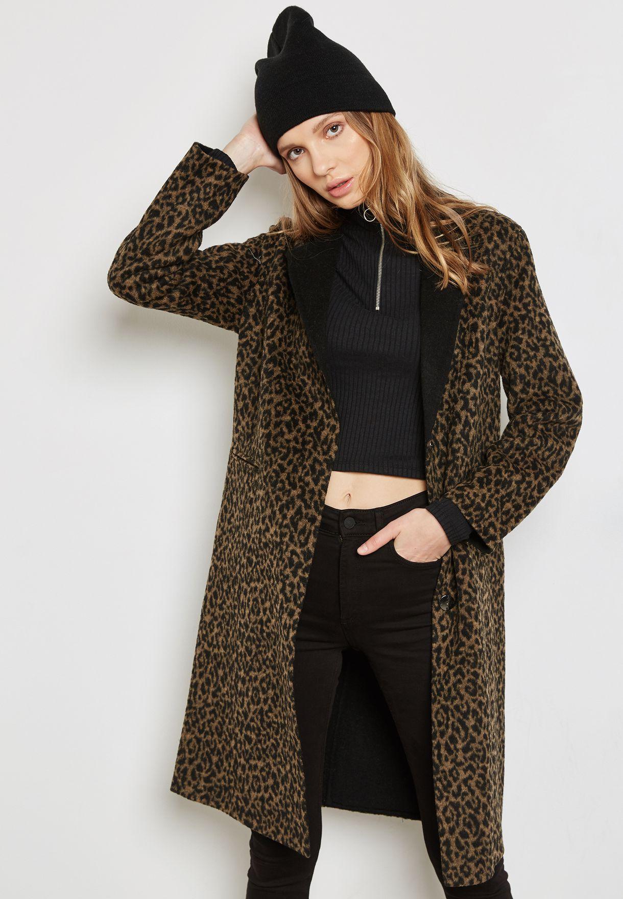 72bf4037c74 Shop Topshop prints Longline Leopard Print Coat 07B02LTRL for Women in  Qatar - TO856AT18AQV