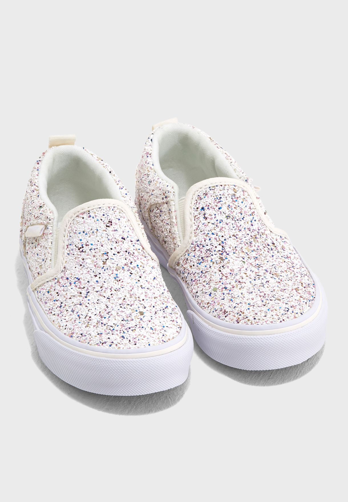 d2e3ff09d5b3df Shop Vans white Kids Asher Glitter Slip Ons 8DSQ5D2 for Kids in ...