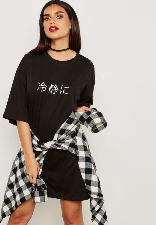 Oversize Graphic T-Shirt Dress