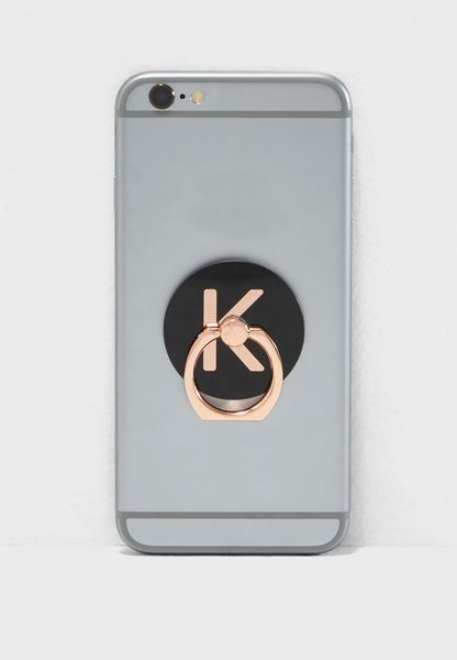 K Letter Rose Gold Phone Ring
