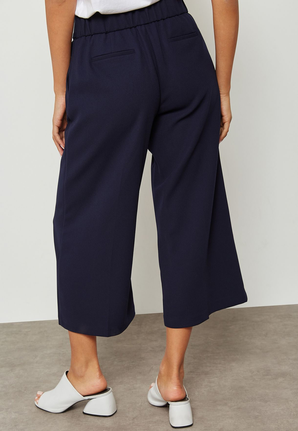 Belted Wide Cropped Trousers