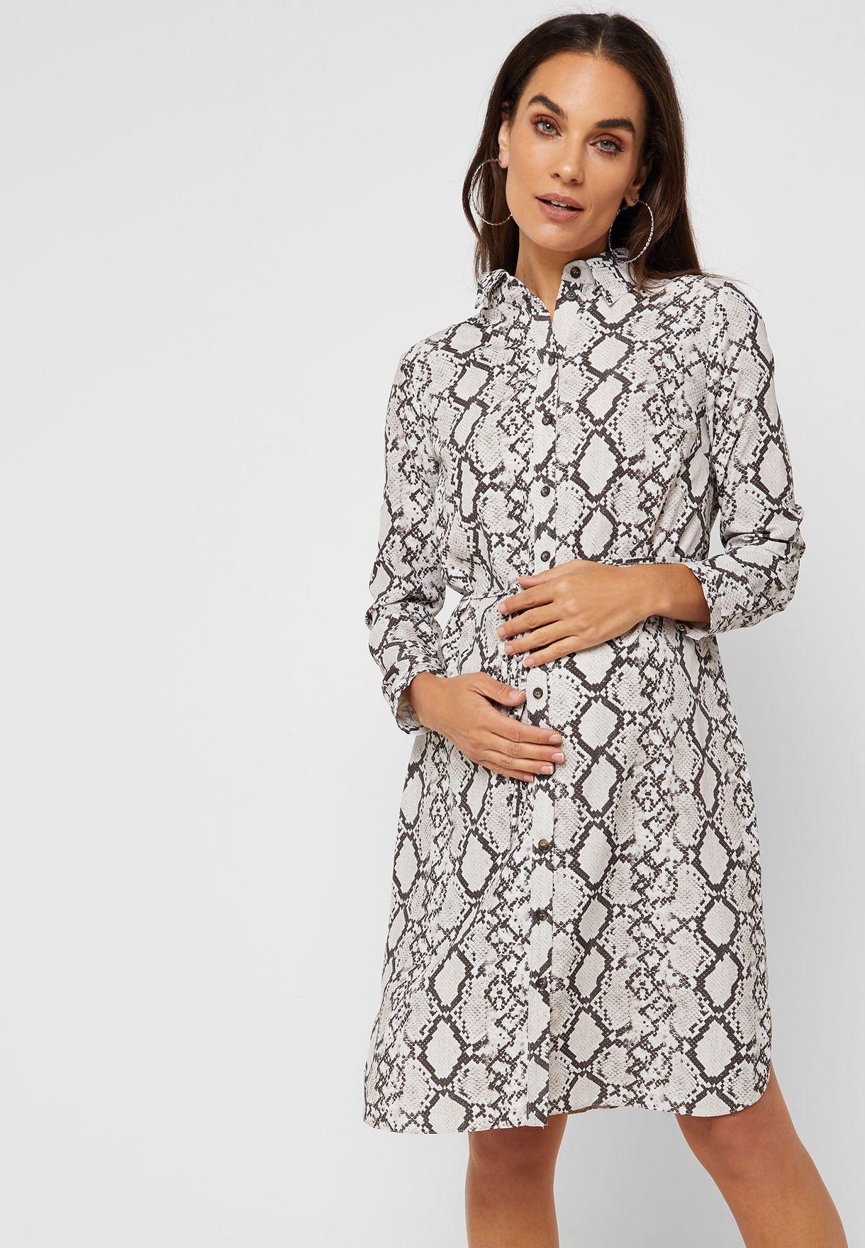 73bf38edbd Shop Dorothy Perkins Maternity prints Snake Print Shirt Dress ...