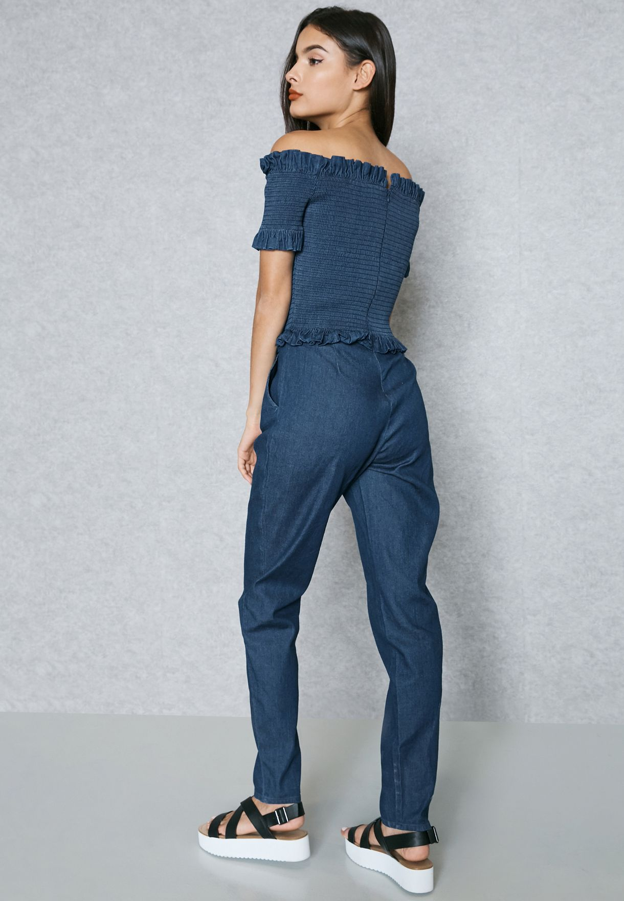 4248eee878d Shop Lost Ink blue Bardot Jumpsuit 0501114041130027 for Women in UAE ...