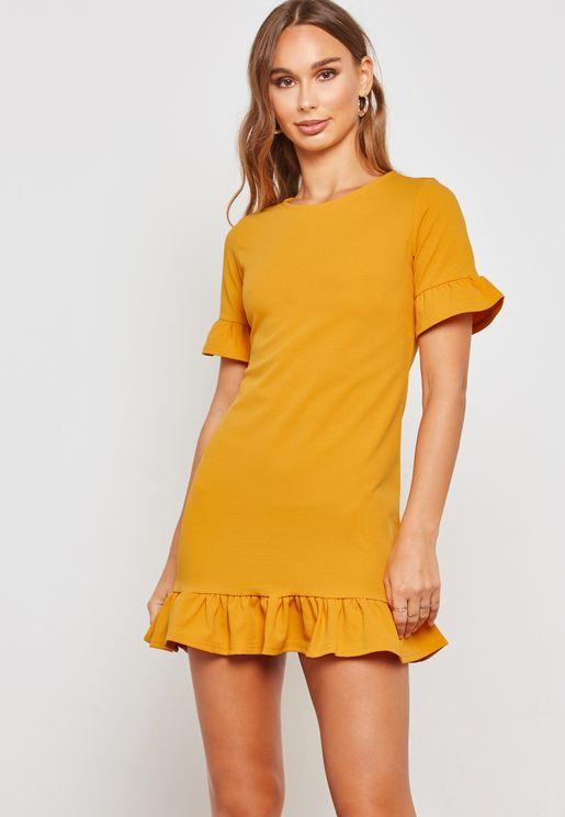 Flute Short Sleeve Ruffle Detail Mini Dress