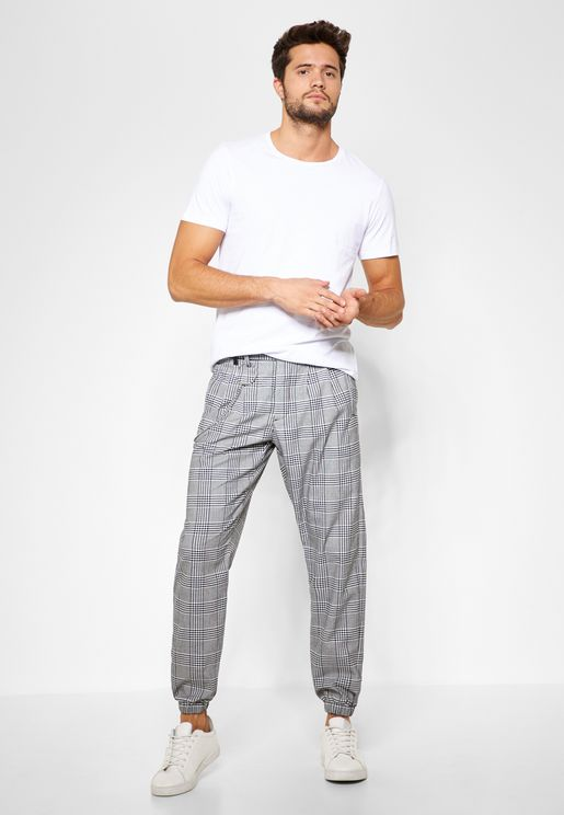 Checked Joggers with Chain