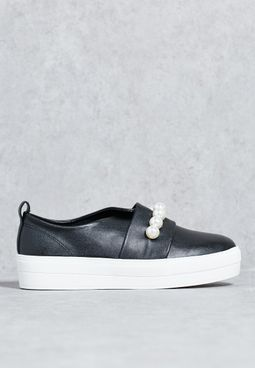 Black Pearl Detail Contrast Sole Trainers