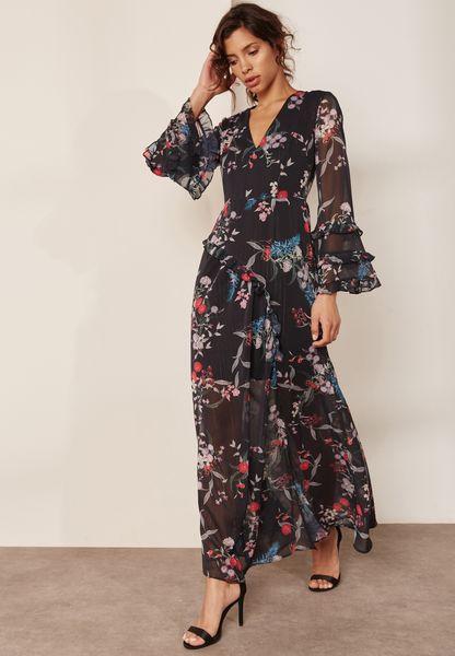 Printed Sleeve Detail Maxi Dress