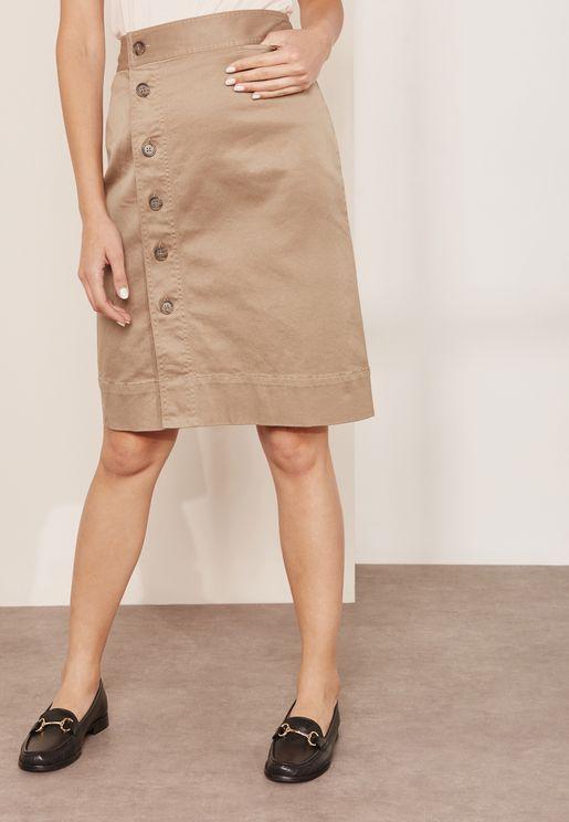 Jones Button Front Chino Skirt