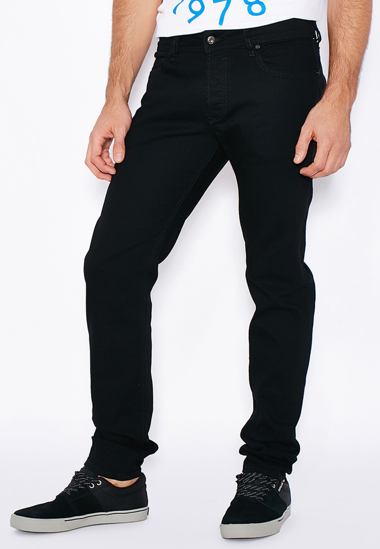 c2e452290db Shop Diesel black Sleenker Skinny Fit Dark Wash Jeans 00S7VH-0886Z ...