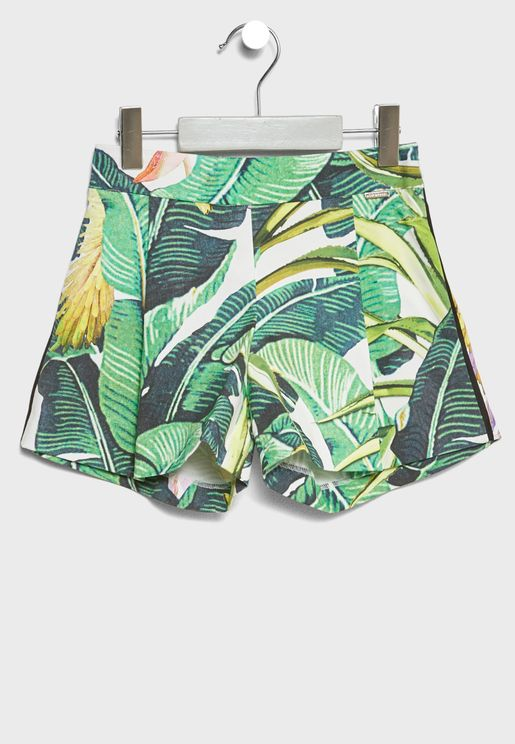 Little Leaf Print Shorts