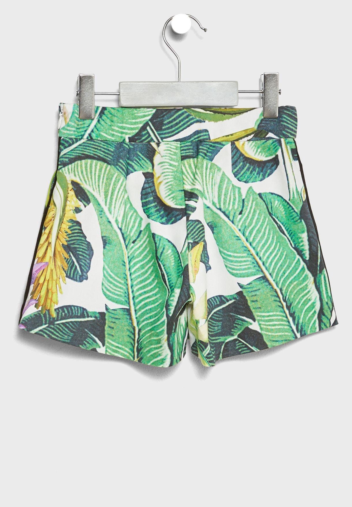 Little Leaf Print Shorts