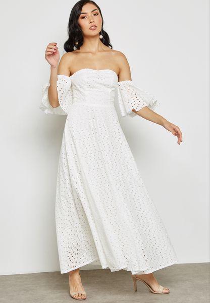 Bardot Bandeau Schiffli Dress