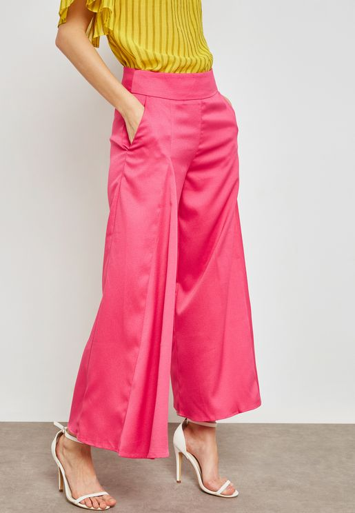 Box Pleat Flare Trousers