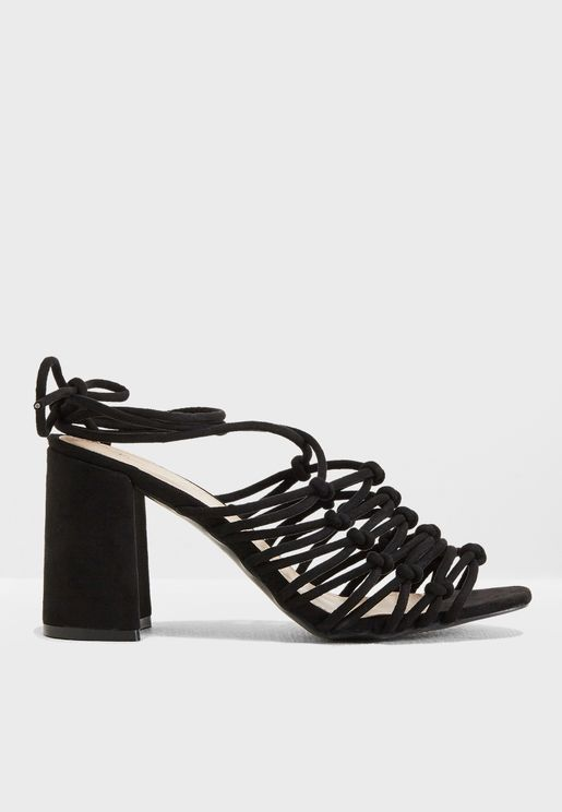 Bianca Lace Up Strappy Block Heel