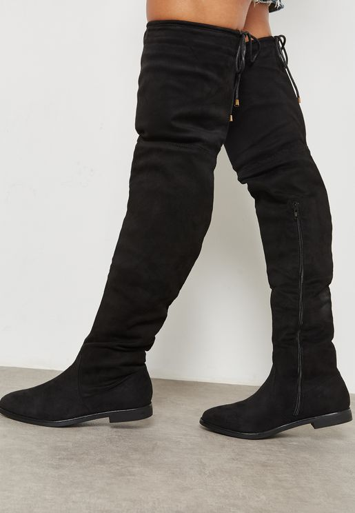 Flat Round Toe Knee Boots
