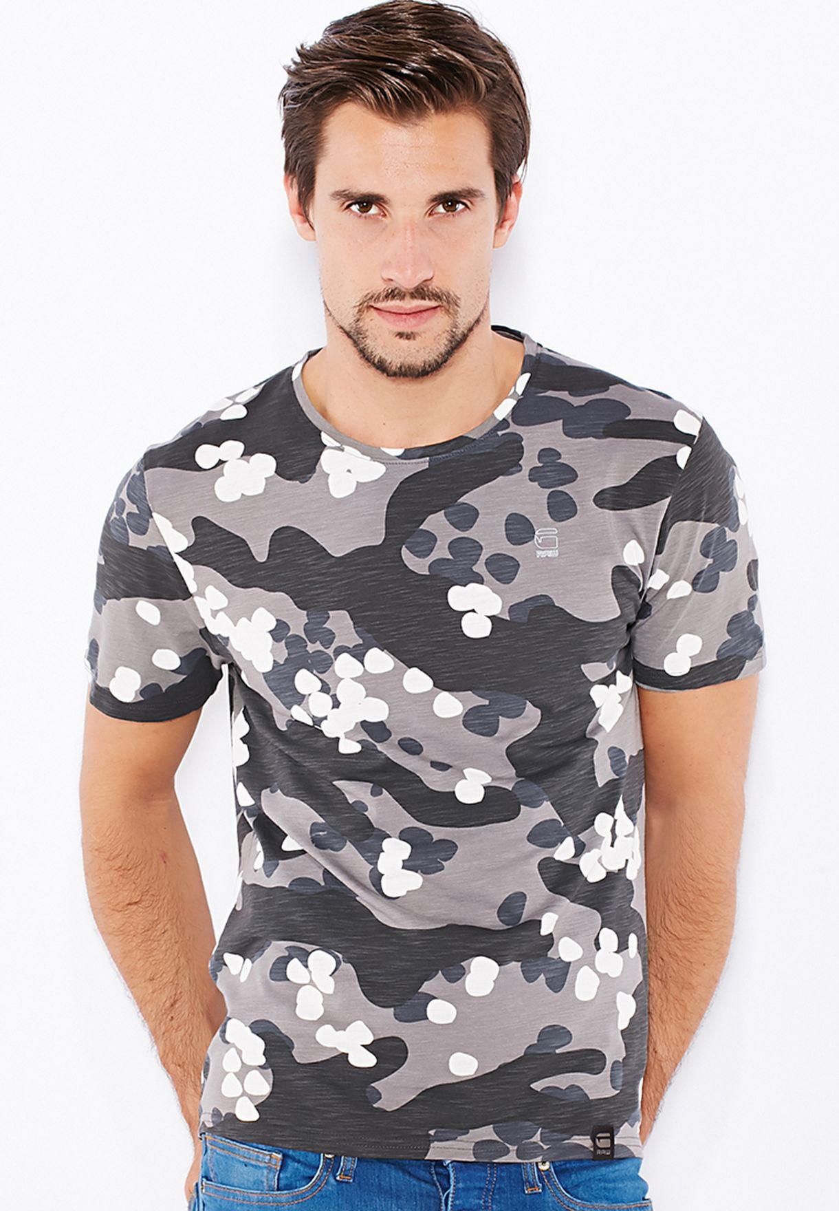 c81c606f6b8 Shop G Star Raw grey Dual Camo Jisoe T-Shirt 84322E-6608-1812 for ...