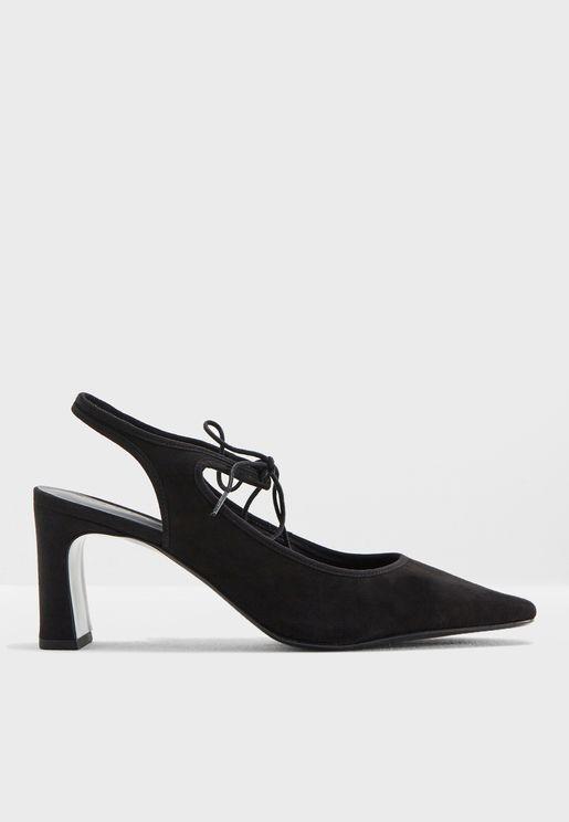 حذاء بكعب مرتفع مع اربطة