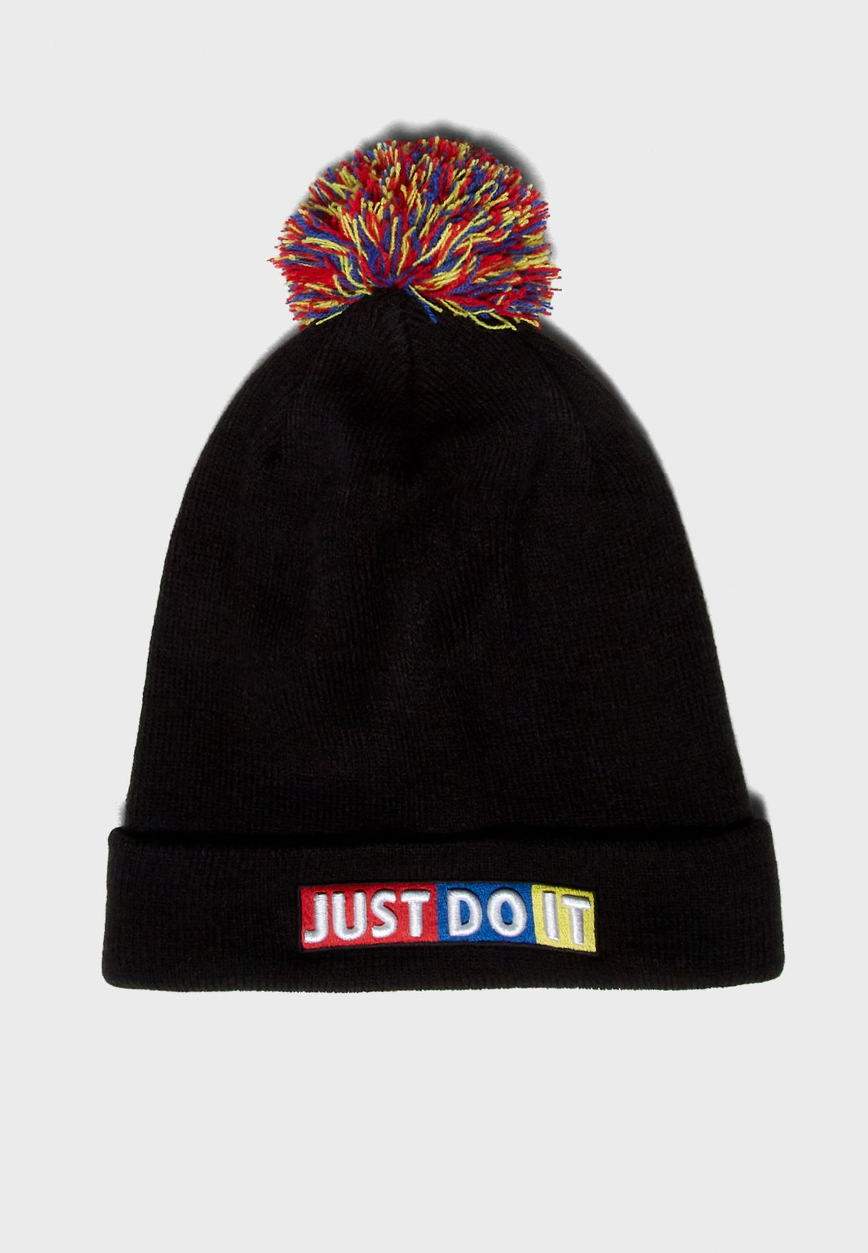 149bfc650d7 Shop Nike black Just Do It Pom Pom Beanie 927228-010 for Kids in ...