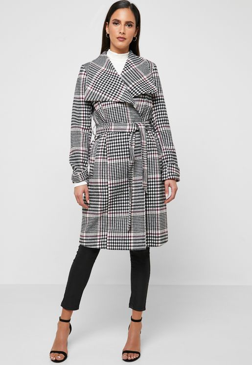 Belted Checked Wrap Coat