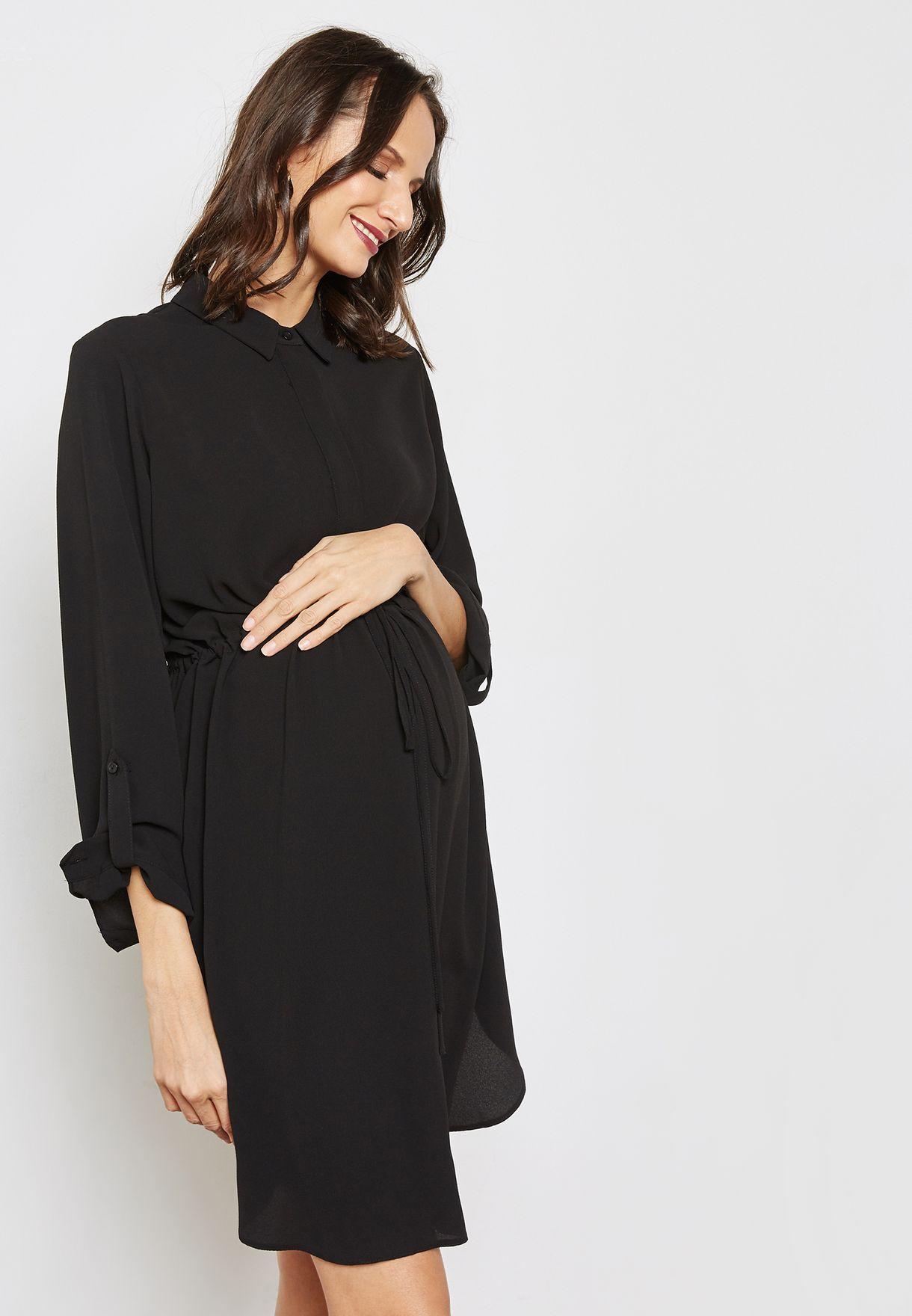82ac30c04d6 Shop Dorothy Perkins Maternity black Roll Sleeve Shirt Dress ...
