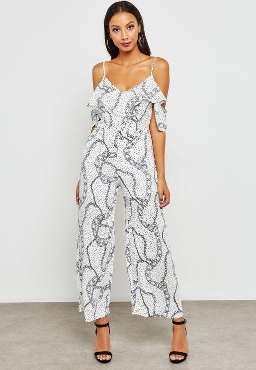 Printed Cold Shoulder Cropped Jumpsuit