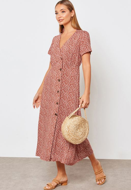 Side Button Detail Printed Dress