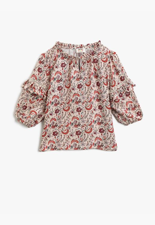 Patterned Long Sleeve Frilled Blouse