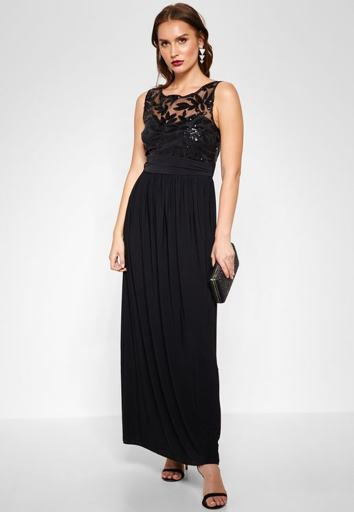 Sequin Belted Maxi Dress