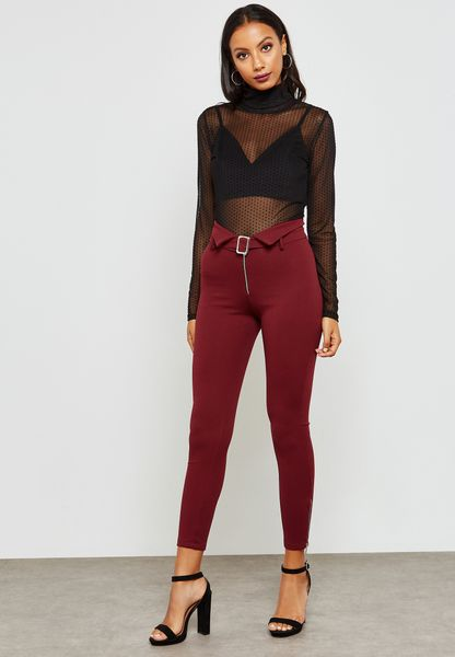 Detailed Waist Belted Pants