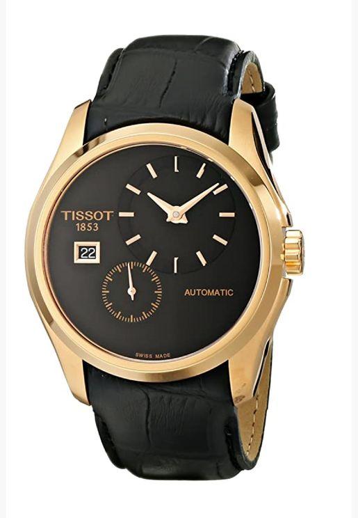 ساعة تيسو كوتورييه أوتوماتيكية بسوار جلدي - T035.428.36.051.00
