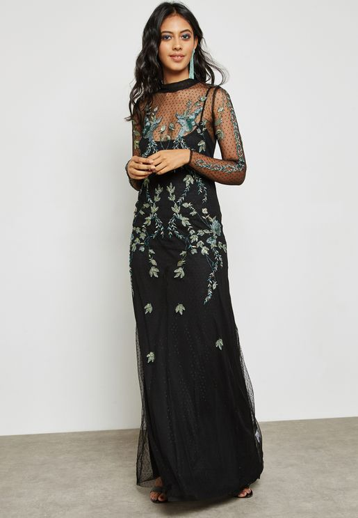 Embroidered Sheer Maxi Dress