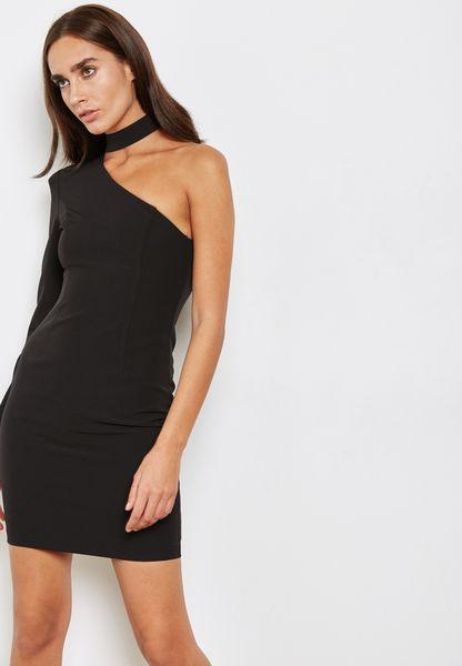 One Shoulder Choker Dress