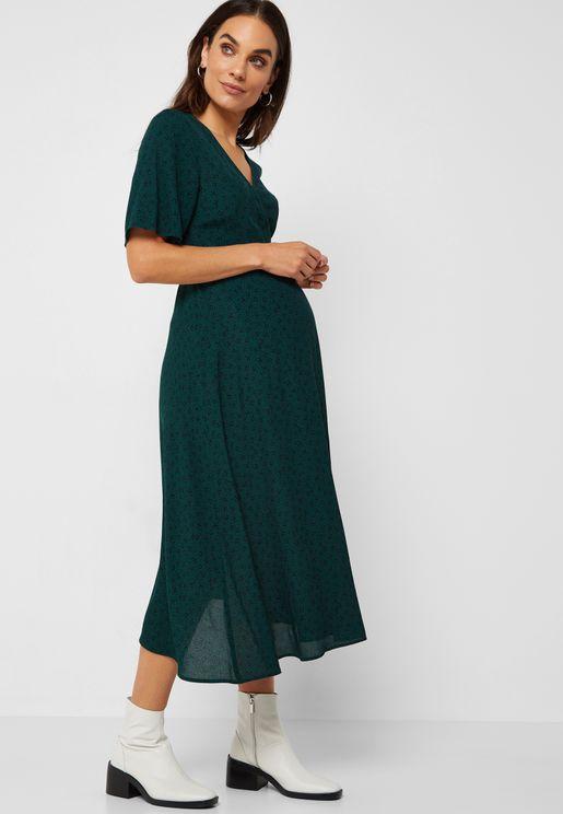 V-Neck Short Sleeve V-Neck Maxi Dress