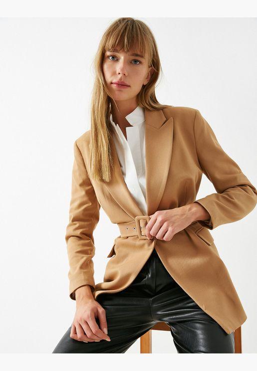 Belted Twill Blazer Jacket