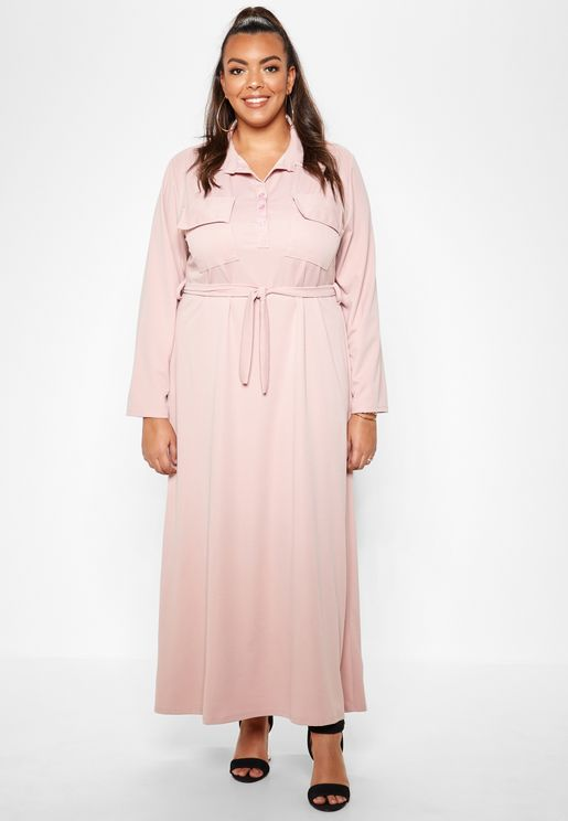 Pocket Detail Self Tie Shirt Maxi Dress