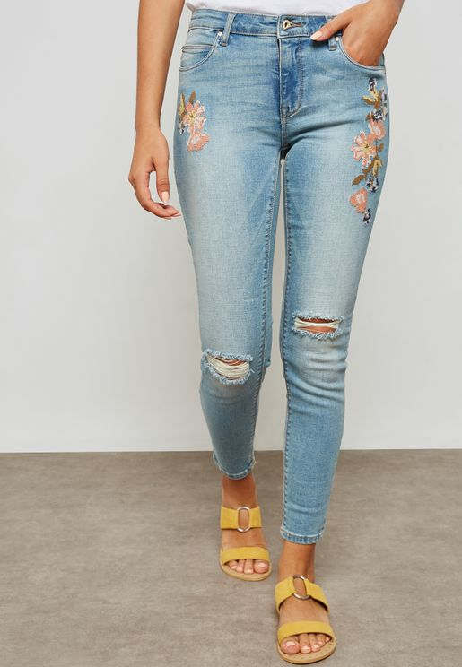 Floral Embroidered Ripped Skinny Jeans