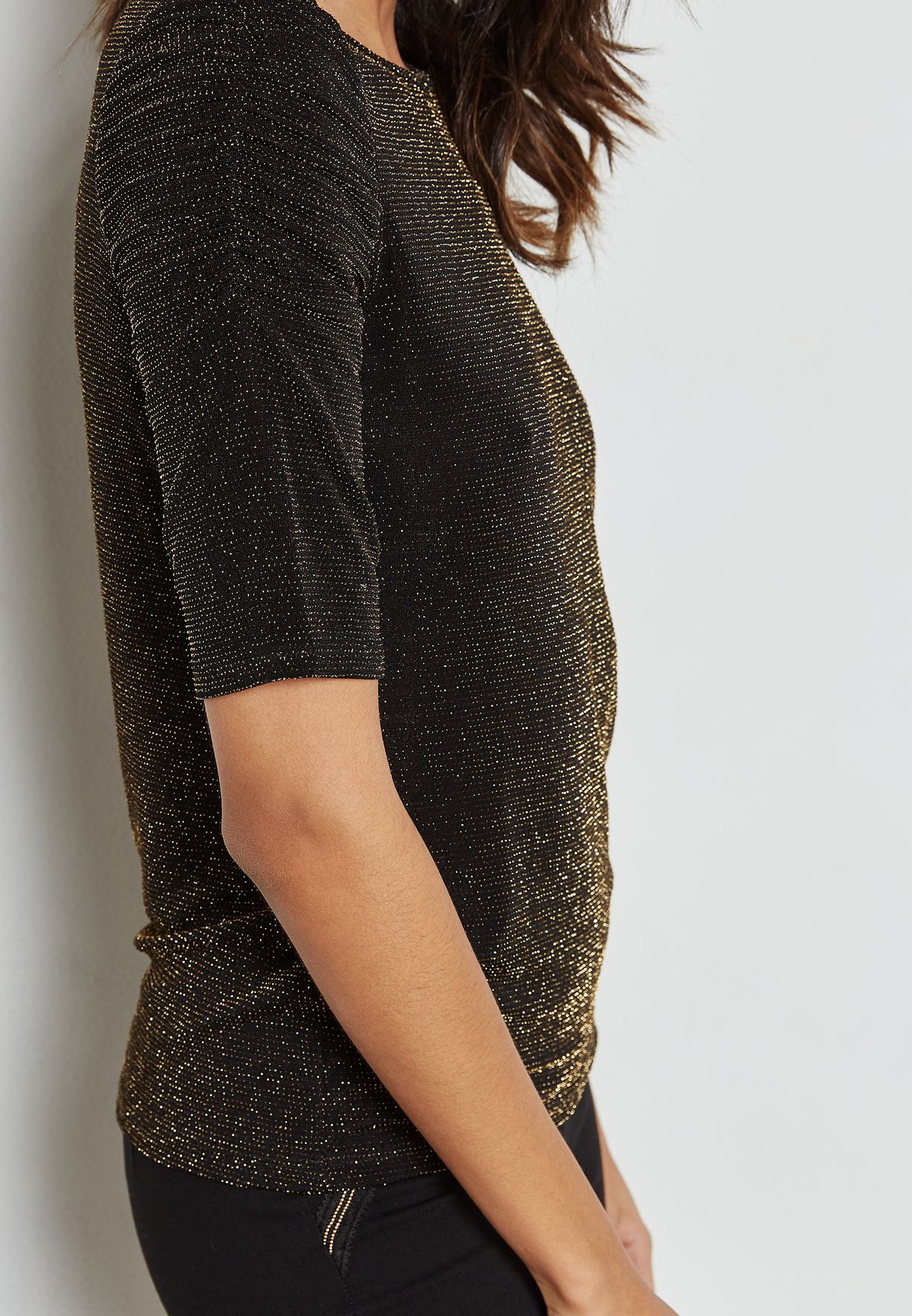 Shimmer Ruched Sleeve Top