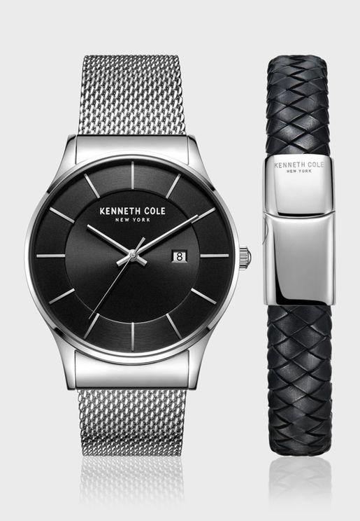 كينيث كول طقم هدية ساعة بسوار ستانلس ستيل للرجال - KC50985001