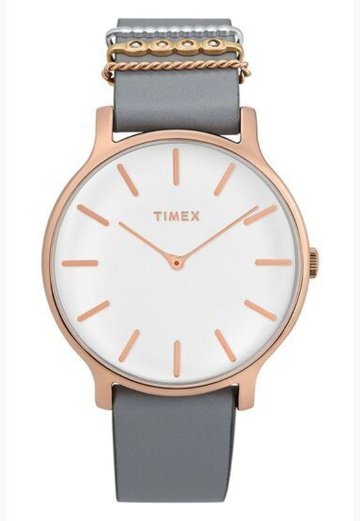 ساعة تيميكس ميتروبوليتان بسوار جلد للنساء - TW2T45400