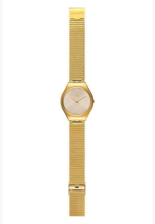 ساعة سواتش جلد ايرونى 38 بسوار ستانلس ستيل للنساء - SYXG106GG