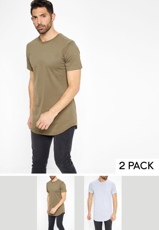 2 Pack Longline Crew T-Shirts