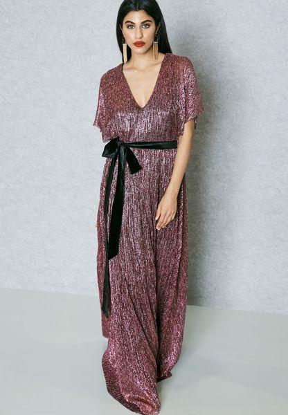 Metallic Plisse Belted Dress