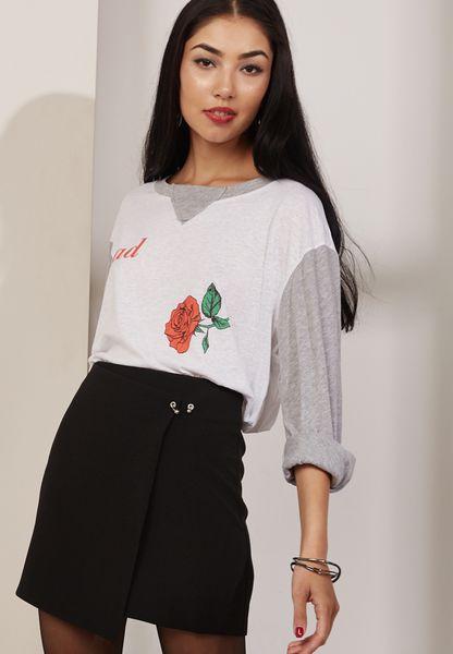Floral Print Raglan T-Shirt