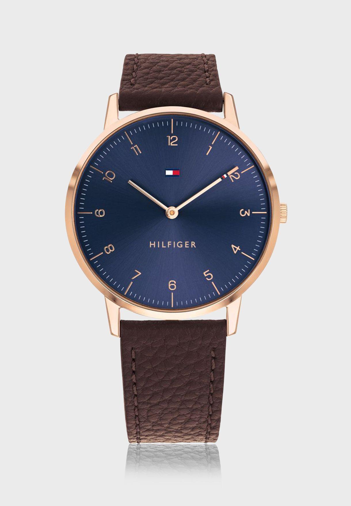 ساعة تومي هيلفيغر كوبر بسوار جلدي للرجال - 1791582