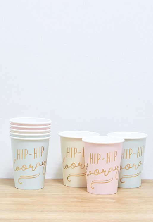 Hip Hip Horray Paper Cups 8pcs