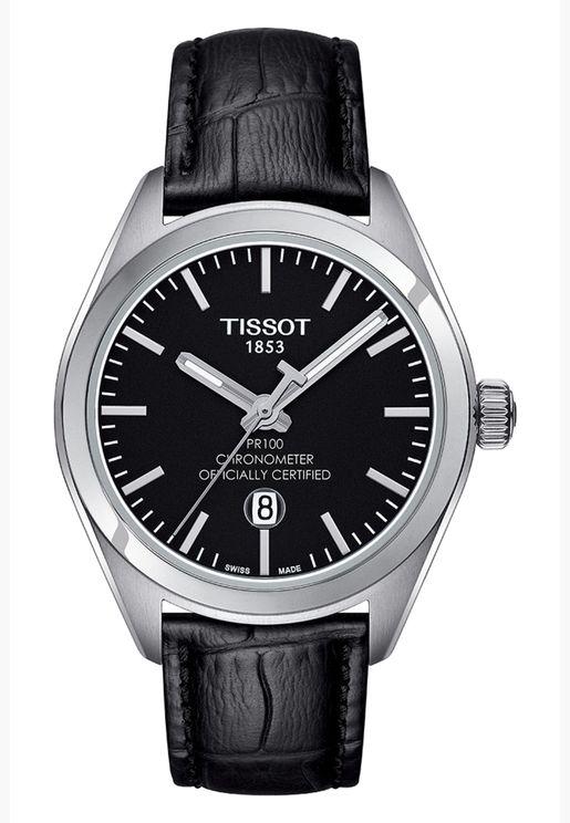 ساعة تيسو PR 100 كلاسيك بسوار جلدي - T101.251.16.051.00
